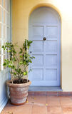 Lemon tree in a patio with a blue door Royalty Free Stock Images