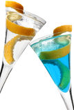 Lemon Twist Cocktail. Cocktails with lemon twist over white Royalty Free Stock Photo
