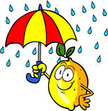 Lemon with umbrella Stock Image
