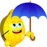 Lemon with umbrella Stock Photography