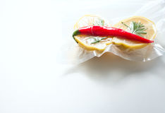Lemon in a vacuum package. Sous-vide, new technology cuisine. Royalty Free Stock Photography