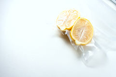 Lemon in a vacuum package. Sous-vide, new technology cuisine. Sous-vide. Selective focus Royalty Free Stock Photography