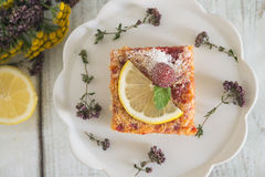 Lemon, vanilla and raspberry bars. Garnished with lemon slices and fresh raspberry Royalty Free Stock Images