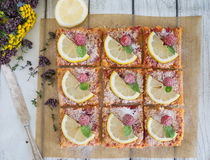 Lemon, vanilla and raspberry bars. Garnished with lemon slices and fresh raspberry Stock Images