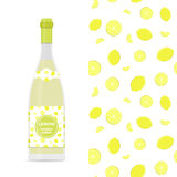 Lemon vector colorful seamless pattern and bottle of lemonade. Lemon vector colorful seamless pattern for design of holiday decoration, greeting card, gift Royalty Free Stock Image