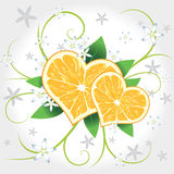 Lemon vector hearts with swirl Royalty Free Stock Photography