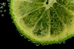 Lemon in water. Close up of a lemon slice deep in sparkling water Royalty Free Stock Photography