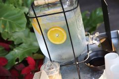 Lemon water. In close up royalty free stock photos