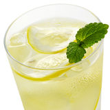 Lemon water. And ice in glass Stock Photography