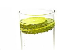 Lemon water. Glass of water with lemon slices Royalty Free Stock Image