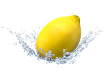 Lemon and water bubbles. Fresh fruits and clean water Royalty Free Stock Photos