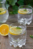 Lemon water. Cold lemon water with mint Stock Photo