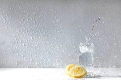 Lemon water drops. Fresh citrus yellow freshness Stock Photos