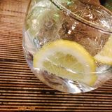 Lemon water. Glass clear ice drink tap water stock images
