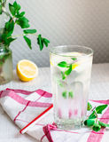 Lemon water with ice and fresh mint, summer drink Royalty Free Stock Image
