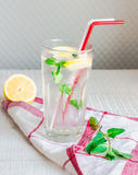 Lemon water with ice and fresh mint, summer drink Stock Photography