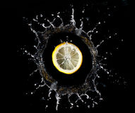 Lemon in water splash Royalty Free Stock Photography