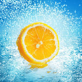 Lemon in water stock photography