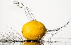 Lemon With Water Splash isolated on white background