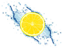 Lemon and water splash Stock Image