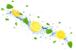 Lemon and water splash Royalty Free Stock Images