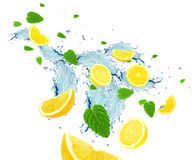 Lemon and water splash Stock Photo