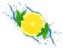 Lemon and water splash Royalty Free Stock Photography