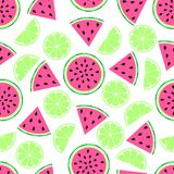 Lemon watermelon pattern on white. Fruit pattern with watermelon and lime, bright lemon pink background vector illustration