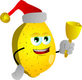 Lemon wearing Santa's hat and playing bell Royalty Free Stock Images