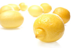 Lemon on white background - close-up Stock Photos