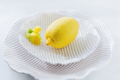 Lemon White Ceramics Plate. Lemon on White Ceramic Plate with Yellow Flower Closeup Royalty Free Stock Photos
