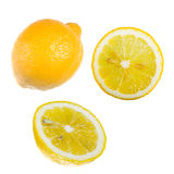The lemon. Whole and cut Stock Image