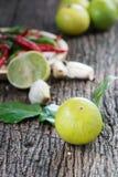 Lemon on wood background Stock Images