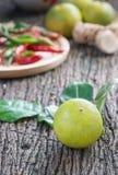 Lemon on wood background Stock Photo