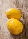 Lemon on wooden background Stock Photo