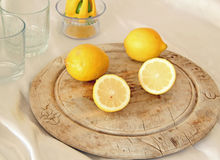 Lemon On A Wooden Board Stock Image