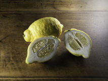 Lemon On Wooden Table Royalty Free Stock Image