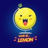 Lemon world globe. happy lemon -. Illustration Stock Image