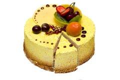Lemon yellow cake with  fruits Stock Image