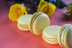 Lemon yellow macaroons on a background of yellow roses on the table in the color of live corals. Delicious French dessert. royalty free stock images