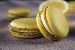 Lemon yellow macaroons - delicious French dessert. stock photography
