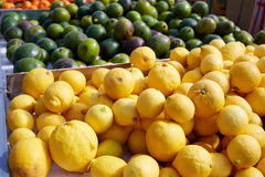 Lemon yellow in the marketplace outdoor Spain Royalty Free Stock Image