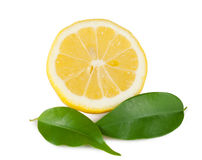 Lemon yellow with two leaves. On white background Stock Photos
