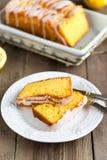 Lemon yogurt loaf cake, sliced on plate Royalty Free Stock Photography