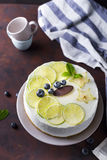 Lemon yogurt mousse cake Stock Image