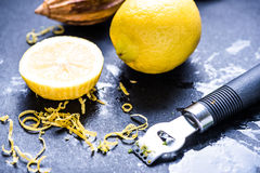 Lemon and zest, natural refreshing ingredients Royalty Free Stock Image