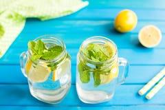 Lemonad с кусками лимона и мята в опарнике mug Стоковое Изображение