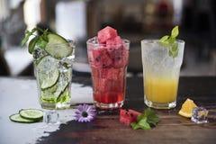 Lemonad för ny frukt tre Gurka med den mintkaramellvattenmelon och apelsinen Friskhet själv royaltyfria bilder