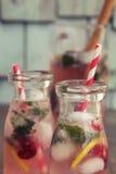 Lemonad i flaskor Fotografering för Bildbyråer