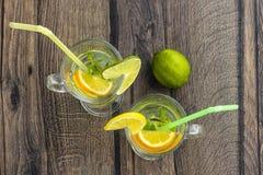 Lemonad med citronen, den orange lägenheten för citron Meyer, limefrukt- och mintkaramelllägger royaltyfri fotografi